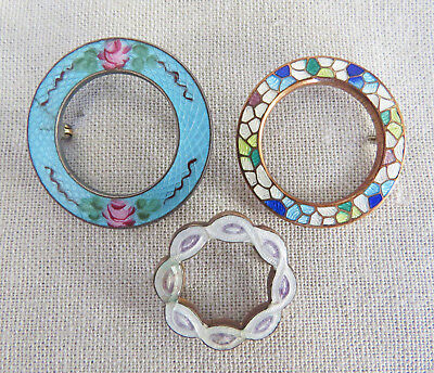 Antique Victorian Edwardian Guilloche Enamel Circle Pins Brooches