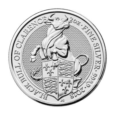2 oz 2018 Royal Mint Queen's Beasts   Black Bull of Clarence Silver Coin