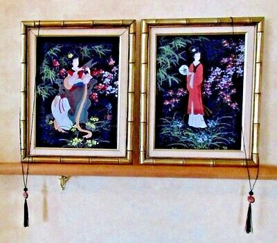 Vintage Signed Japanese Women Geisha Paintings Oil Gilt Framed Pair Set Of 2