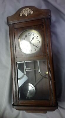 "Vintage Antique Oak Cased 8 Day Wall Clock Wood Carved 32"" Tall Chime"