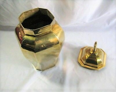Brass Bronze Incense Burial Ash Urn Pot Octagon Bulbous Chalice With Lid Heavy