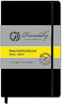 """Essential Small Graph Journal Graph Notebook NEW! Black 5 1/2""""x3 1/2"""" piccadilly"""
