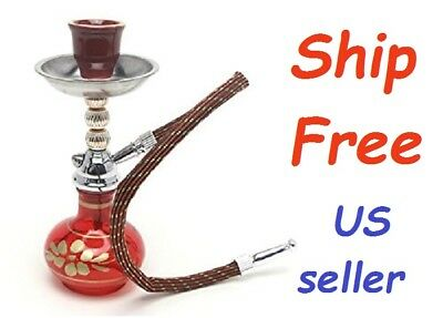 "Mini Hookah Shisha Glass Water Pipe Bong Smoking Tobacco 7"" Portable Single Hose"