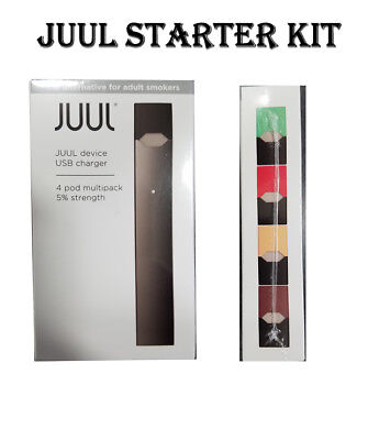 Authentic JUUL-Device Starter Kit + charger + 4 flavor pods - US Seller Freeship