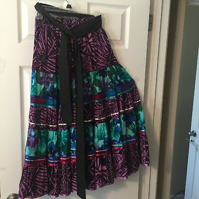 Multi Color Square Dance Prairie Skirt With Fabric Belt