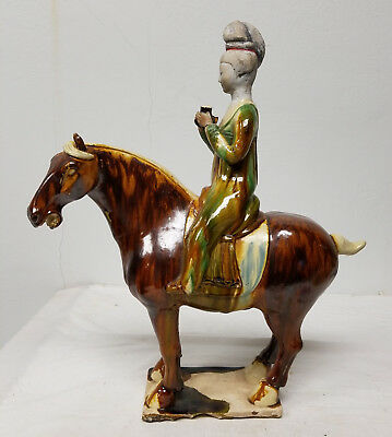 Antique Chinese Tang Style Pottery Porcelain Horse Rider Old Damages Repairs
