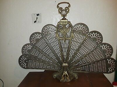 "Vintage Ornate Victorian Antique Brass Folding Fan Fireplace Screen 37"" wide"