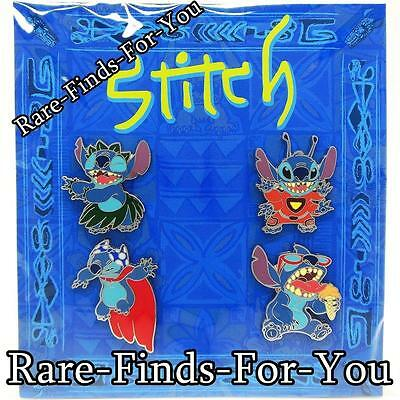 """Disney Parks """"Stitch"""" In Costumes 4-Pin Set Booster Pack Hula 626 (NEW/SEALED)"""