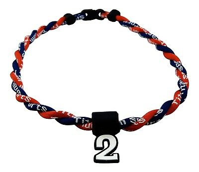 (Navy Blue Red) - Pick Your Number - Twisted Titanium Sports Tornado Necklace