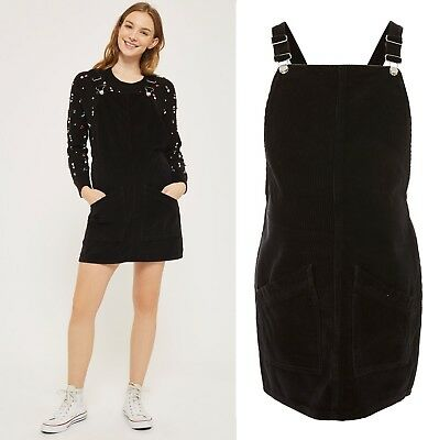 0aafe7d15f04f BNWT Topshop MATERNITY Black Corduroy Pocket Pinafore Dungaree Dress UK 14