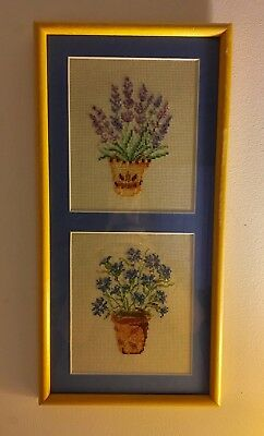 Finished Framed Cross Stitch Blue Matted Double Picture Potted Flowers