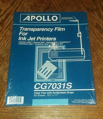 Apollo Transparency Film for Ink Jet Printers w/Removable Stripe CG7031S NEW 50