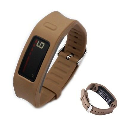 (Brown) - CFX Replacement Wristband with Metal Watch Clasp for Garmin Vivofit