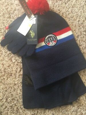 Ralph Lauren Polo Winter Accessories Hat Scarf Gloves Red Blue 3pc Lot