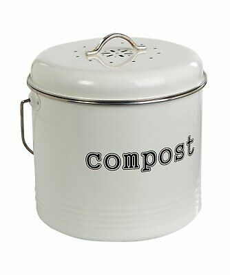 NEW Kitchen Compost Bin Food Waste Recycling Composter Tumbler White 6.5 Litre