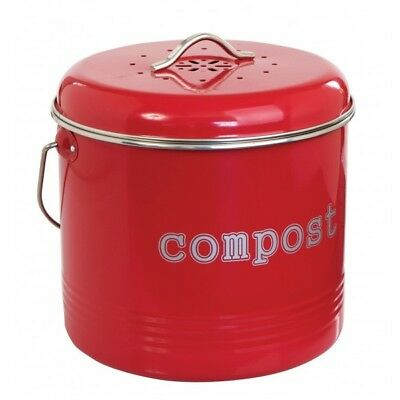 NEW Kitchen Compost Bin Food Waste Recycling Composter Tumbler RED 6.5 Litre