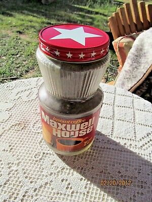 VINTAGE 1970s MAXWELL HOUSE INSTANT COFFEE 10 OZ. NOS GLASS JAR STAR TOP