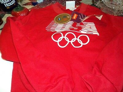 1984 USA Olympics Red Sweatshirt w/ Orig Tag Never Worn Levi's Sponsor Girl's M