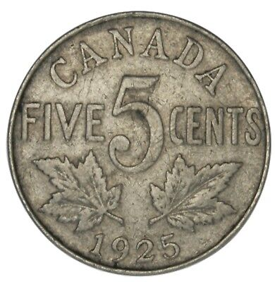 1925 Canada Nickel - Key Date Canadian 5c Coin - Super Low Mintage