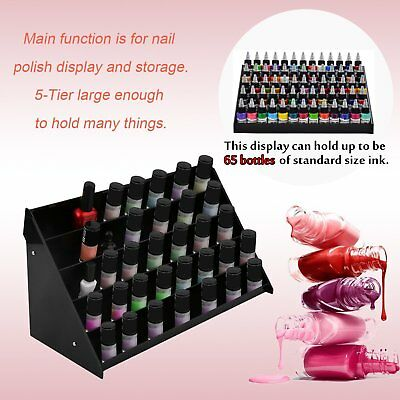 5-Tier Acrylic Makeup Cosmetic Nail Polish Display Rack Stand Holder Organizer W