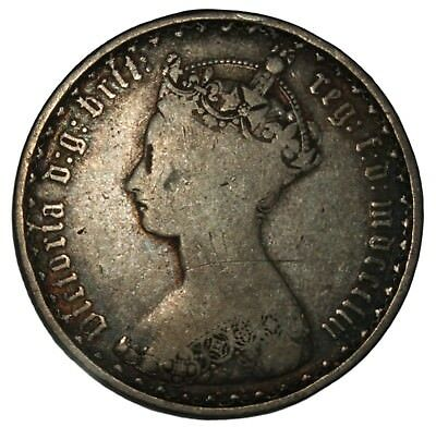 1853 Great Britain 1 Florin - Gothic Type Silver Coin - mdcccliii