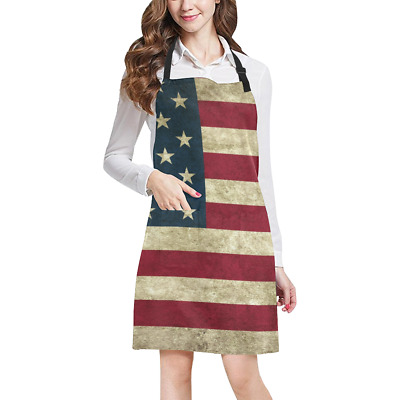 Retro American Flag Kitchen Apron with Pockets Fully Adjustable Working Clothing