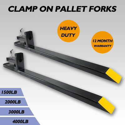 1500lb/2000lb/3000lb/4000lb Clamp on Pallet Fork Capacity Loader Bucket Tractor