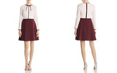 eedb5b6f0e5b76 TED BAKER pink and wine Looze Neck tie skater Dress long sleeves