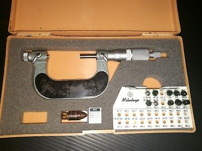 """Mitutoyo 126-138 Thread Micrometer 1-2"""" Certified 12/2015 Various Tpi"""