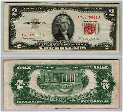 1953C $2 Dollar Bill Old Us Note Legal Tender Paper Money Currency Red Seal Z817