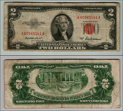 1953A $2 Dollar Bill Old Us Note Legal Tender Paper Money Currency Red Seal P146