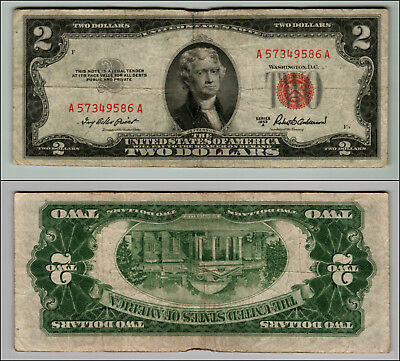 1953A $2 Dollar Bill Old  Note Legal Tender Paper Money Currency Red Seal P797
