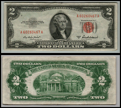 1953A $2 Dollar Bill Old Us Note Legal Tender Paper Money Currency Red Seal V939