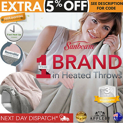 Sunbeam Heated Throw Reversible Electric Blanket Fleece Snuggle Rug Washable