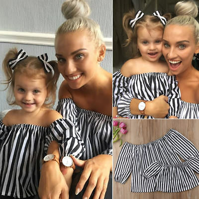 Mother And Daughter Striped T-shirt Top Clothes Matching Mom Girl Family Clothes