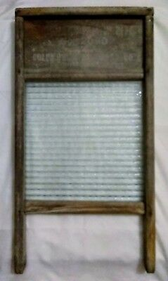 Antique Glass And Wood Washboard Columbus Washboard Co. No 2080 Good Condition