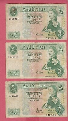 Mauritius 1967 (Nd) ~25 Rupees~ Banknotes Lot Of (3) Colonial British Notes Qei4