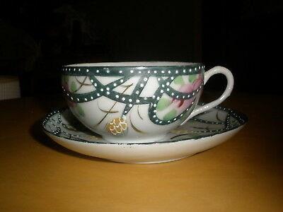 Japan Hand Painted Tea Cup/Saucer Beading and Gold Decor Bamboo Style Handle