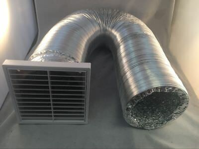 100mm Ventilation Fixed Louvre Grille + 5M Aluminum Foil Duct