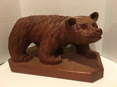 """Antique Hand Carved Wooden Bear 1969 By George Charles 18"""" X 10"""""""