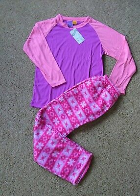 New Girls Winter Pyjamas Pjs Sleepwear Fleece Pants Long Sleeved Sizes 6-14 Pink