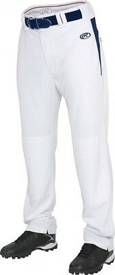 (Small, White/Navy) - Rawlings Men's Semi-Relaxed Pants with Waist Inserts