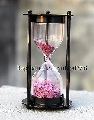 Antique Solid Brass Sand Timer Hours Glass Marine Astrolabe Time Nautical Decor