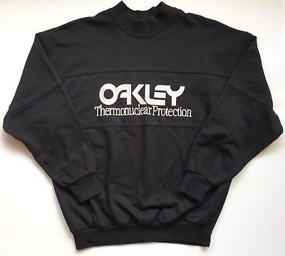 Size Large Vintage Oakley Black Crew Neck Sweatshirt Thermonuclear Protection