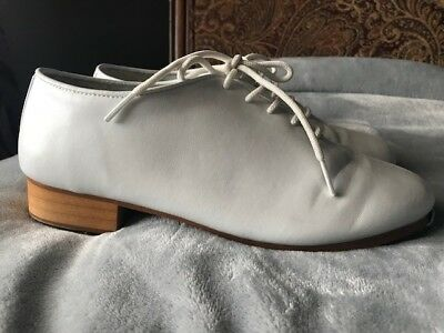 Trimfoot Jazz/Clogging Shoe White. Stevens Stompers Buck Taps Installed 7.5 w