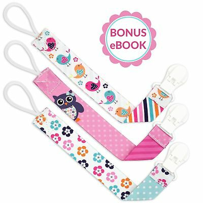 Liname Pacifier Clip for Girls with BONUS eBook - 3 Pack Gift Packaging - Premiu