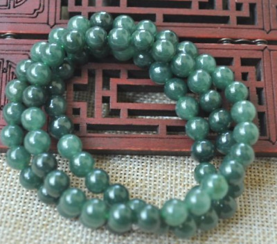 8mm 100% Natural A green Emerald Jade Pendant ~ Necklace Have certificate AAA