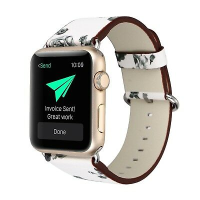 (42mm, 42mm-4) - KOBWA Apple Watch Band, Premium Leather Strap Wrist Band