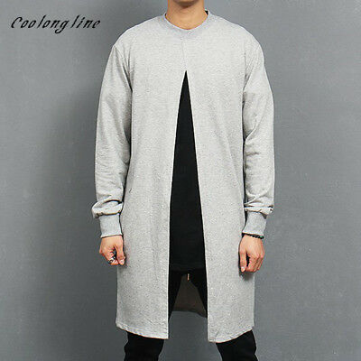 Mens Long Jackets Sweatshirts Open Placket Light Coat French Terry 100% Cotton