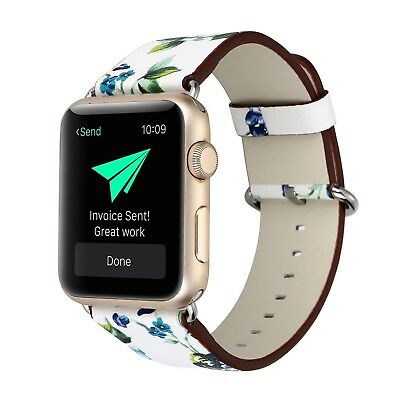 (38mm, 38mm-5) - KOBWA Apple Watch Band, Premium Leather Strap Wrist Band
